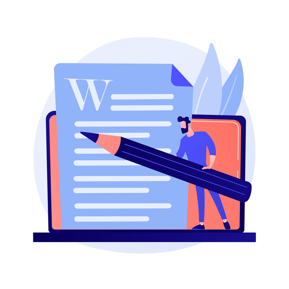 Vector image of an author holding a pen in front of a word document